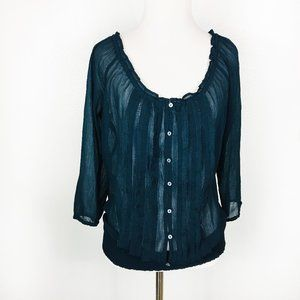 Abercrombie & Fitch Button Front Sheer Blouse M